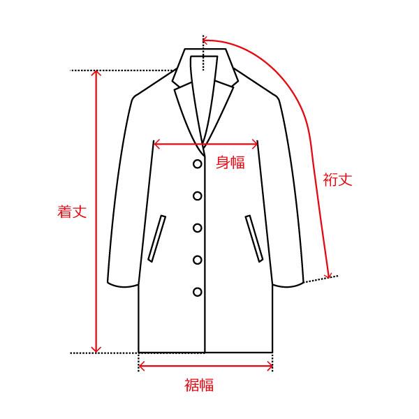コート/肩縫い目なし